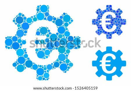 Euro machinery gear mosaic for Euro machinery gear icon of circle elements in different sizes and shades. Vector circle elements are grouped into blue illustration.