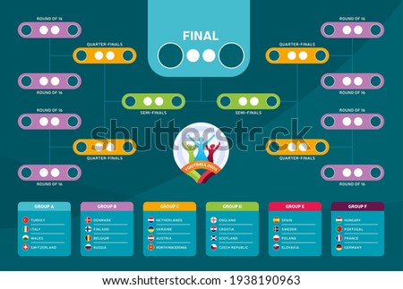 Euro 2020 Match schedule, template for web, print, football results table, flags of European countries participating final tournament of european football championship euro 2020. vector illustration