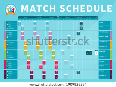 Euro 2020 match schedule tournament final stage Match schedule, template for web, print, football results table, flags of countries football championship 2021, vector illustration.