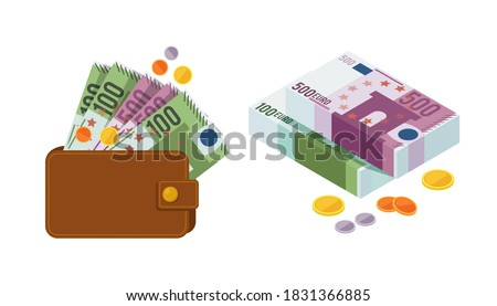 Euro money banknotes and coins. Money banknotes in wallet and folded in bundles. Treasure bag, bonus game element coins cartoon vector