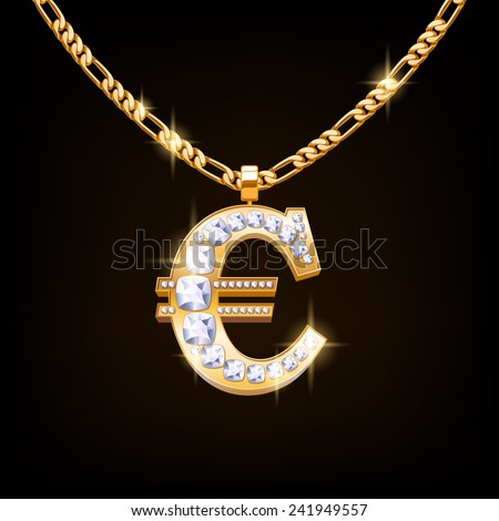 euro sign jewelry necklace on