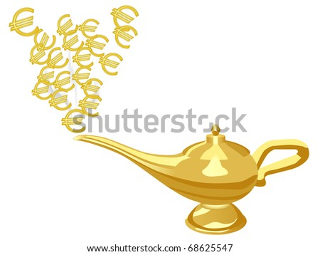 Euro signs from Aladdin lamp - stock vector