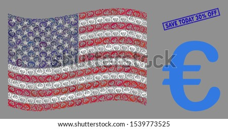 Euro symbol items are combined into USA flag stylization with blue rectangle distressed stamp seal of Save Today 30% Off text.