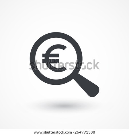 euro symbol under a magnifying