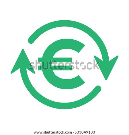 Euro turnover icon, vector illustration