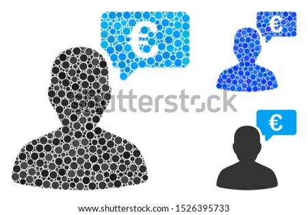Euro user opinion mosaic for Euro user opinion icon of filled circles in various sizes and color hues. Vector random circles are combined into blue mosaic.