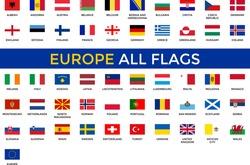 Europe All Flags Vector - Editable flag
