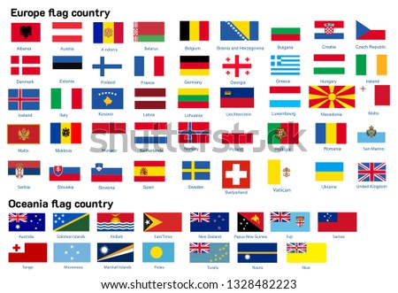 Europe and Oceania flag country