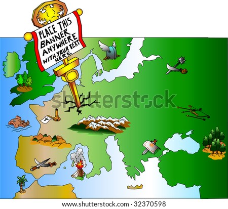 Europe as a battle-field - stock vector