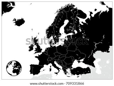 Europe Black Map. No text. Detailed vector illustration of Europe Map.