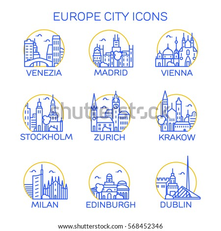 europe city icons set vector