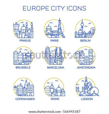 europe city icons vector