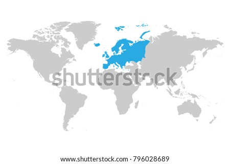 europe continent blue marked in grey silhouette of world map simple flat vector illustration