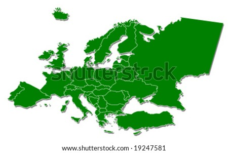 europe continent map - green ecology - vector illustration