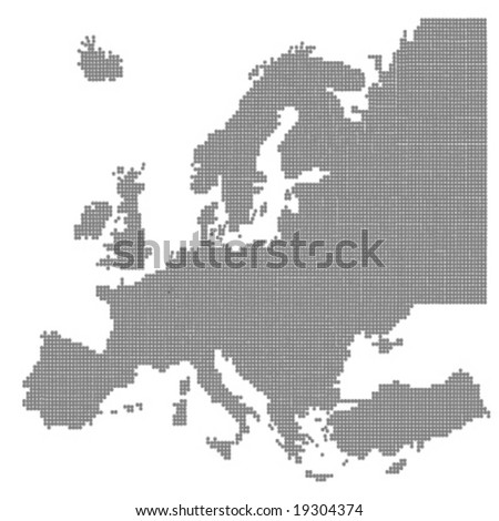 europe continent map - grey balls vector illustration - stock vector