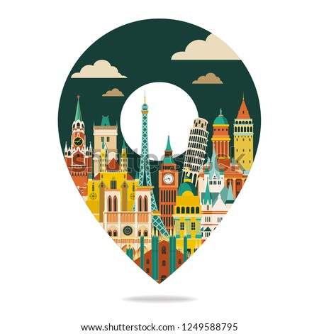 Europe famous landmarks. Travel and tourism background. Vector illustration