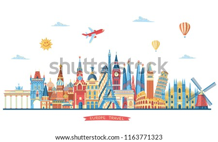 Europe famous monuments skyline. Travel and tourism background. London, Paris, Moscow, Rome, Barcelona, Madrid, Milan monuments. Vector illustration
