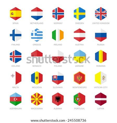 Europe Flag Icons. Hexagon Flat Design. #245508736