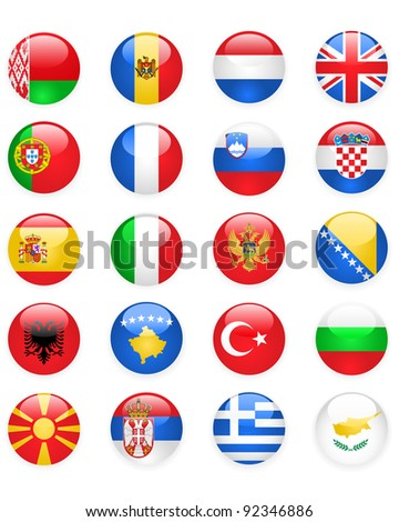 Europe flags buttons, part one - stock vector