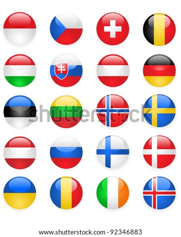 Europe flags buttons, part two