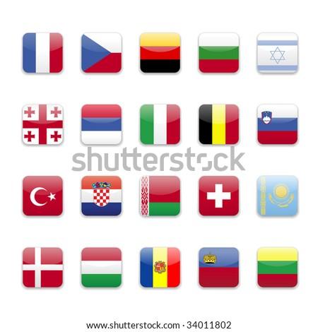 Europe flags round icon set