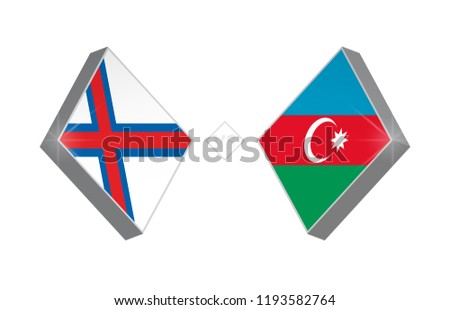 Europe football competition Faroe Islands vs Azerbaijan. Vector illustration.