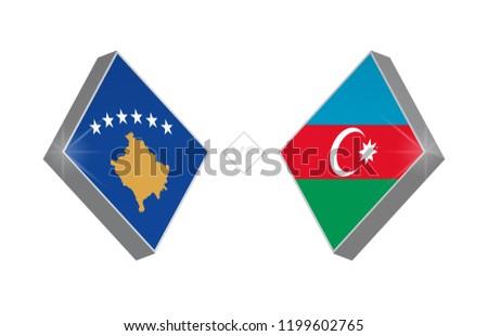 Europe football competition Kosovo vs Azerbaijan. Vector illustration.