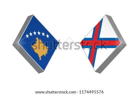 Europe football competition Kosovo vs Faroe Islands. Vector illustration.