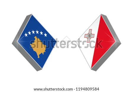 Europe football competition Kosovo vs Malta. Vector illustration.
