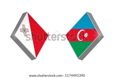 Europe football competition Malta vs Azerbaijan. Vector illustration.