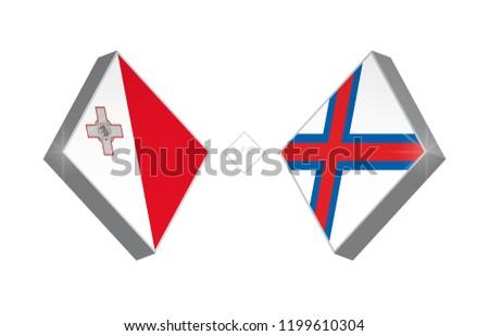 Europe football competition Malta vs Faroe Islands. Vector illustration.