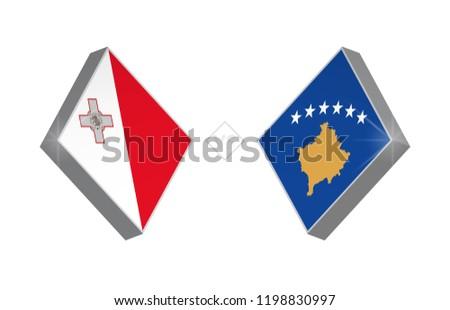 Europe football competition Malta vs Kosovo. Vector illustration.
