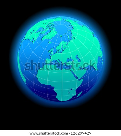 Europe Global World in Space - Vector Map Icon of the world Globe