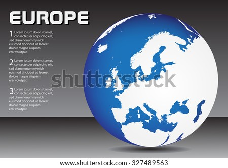 Europe globe. Earth globe vector.