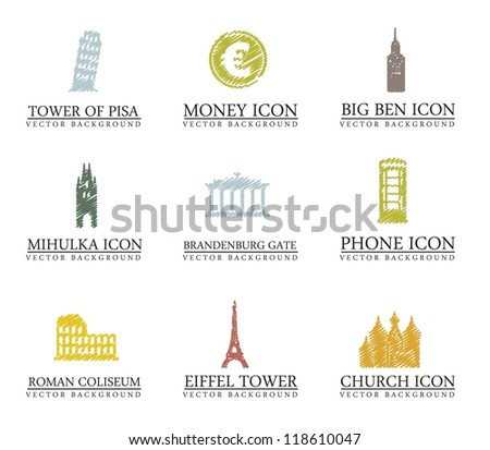 europe icons over white background. vector illustration
