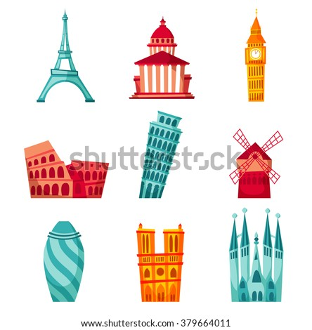 europe landmark set travel