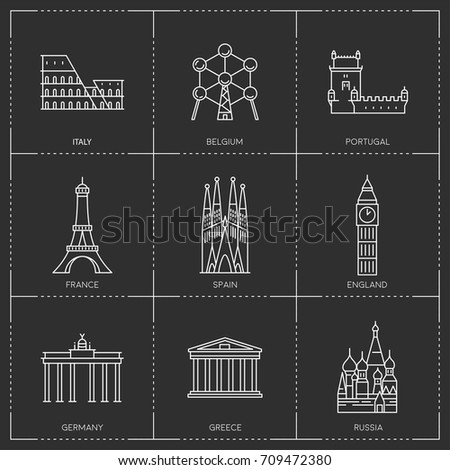 Europe landmarks. The collection include Italy, Belgium, Portugal, France, Spain, Great Britain, Germany, Greece and Russia famous buildings and monuments.