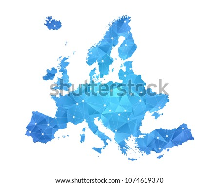 Europe Map - Abstract geometric rumpled triangular low poly style gradient graphic on white background , line dots polygonal design for your . Vector illustration eps 10