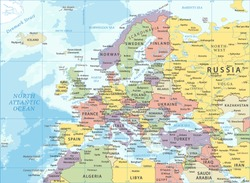Europe Map - Color Detailed Vector Illustration