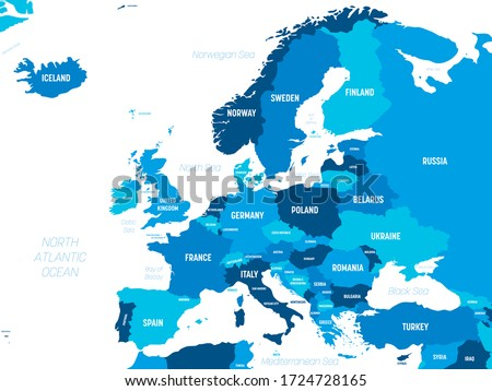 Europe map - green hue colored on dark background. High detailed political map of european continent with country, capital, ocean and sea names labeling.