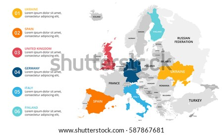Europe map infographic. Slide presentation. Global business marketing concept. Color country. World transportation infographics data. Economic statistic template.
