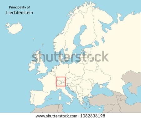 europe map, liechtenstein