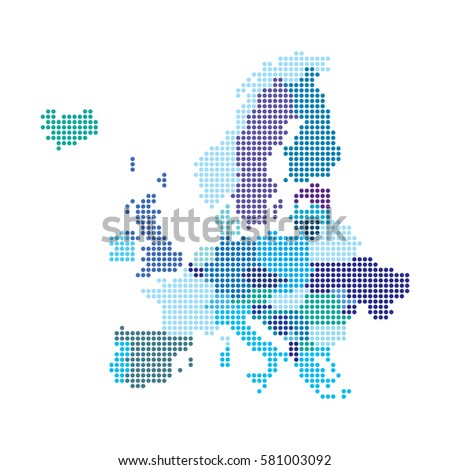 Europe map made from dot pattern