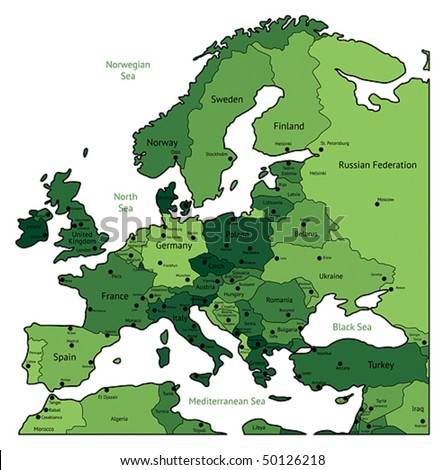 Europe map of green colors. Names, town marks and national borders are in separate layers. Vector illustration.