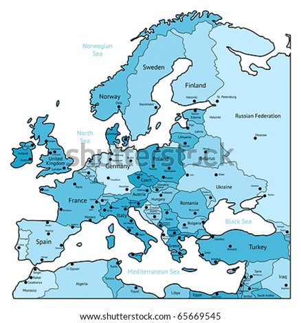 Europe map of light blue colors. Names, town marks and national borders are in separate layers. Vector illustration.