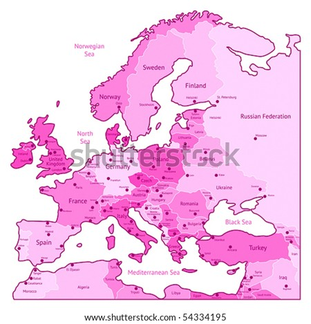 Europe map of pink colors. Names, town marks and national borders are in separate layers. Vector illustration.
