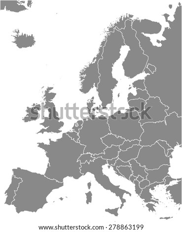 europe map outlines  vector map
