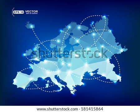 Europe map polygonal with spot lights places