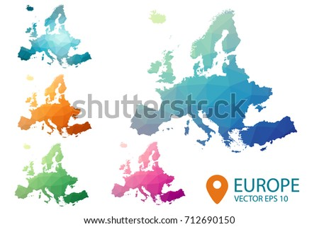 Europe map - set geometric rumpled triangular low poly style gradient graphic background , polygonal design for your . Vector illustration eps 10.