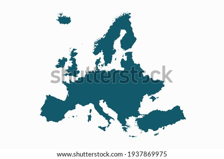 Europe map vector. blue color on white background.